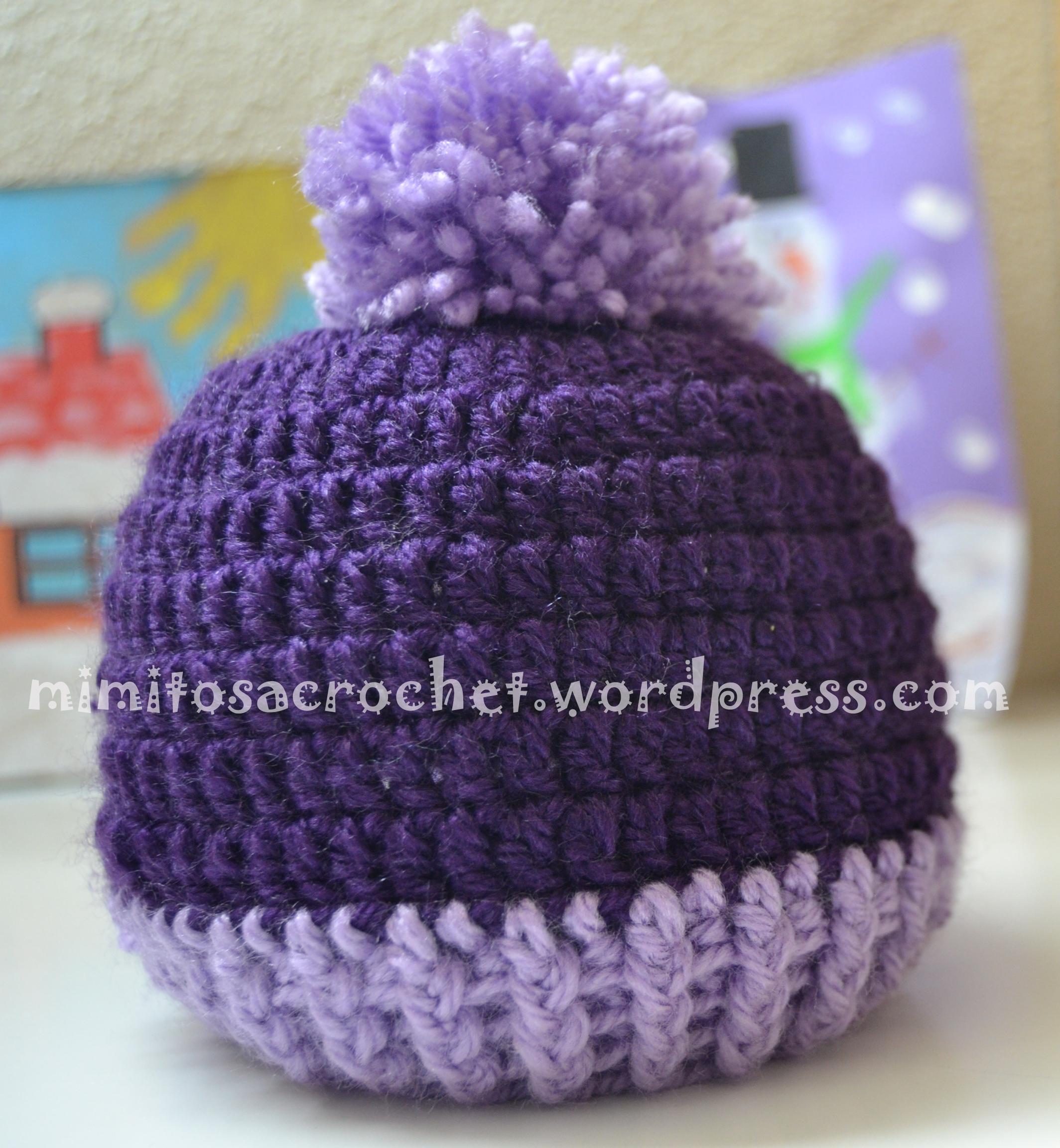 Gorro con pompón a crochet