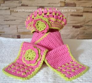 Boina y bufanda flor niña 017