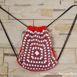 Mochila cuerdas roja-blanca-gris II