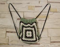 Mochila cuerdas verde-marrón-beige II