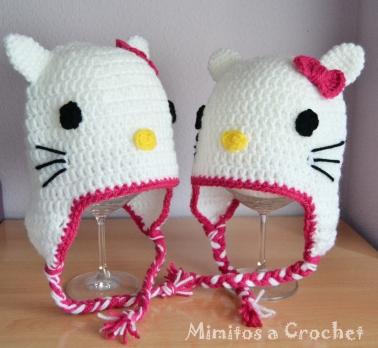 Gorro Hello Kitty lazo fucsia pareja 001