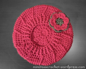 Boina relieve fucsia-gris 001