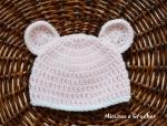 Gorrito orejitas rosa bebé lana acrílica 001